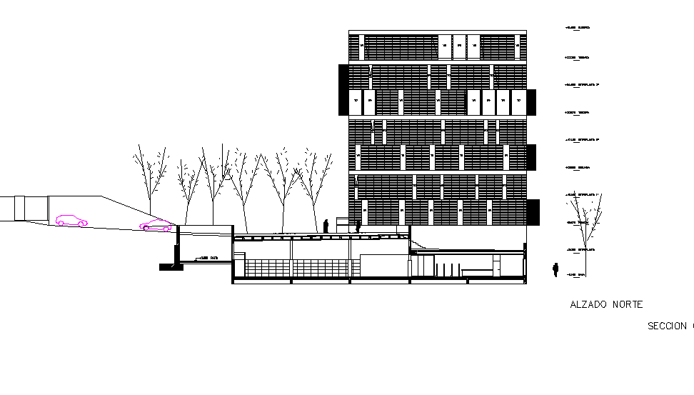 Sectional elevation of public library building.