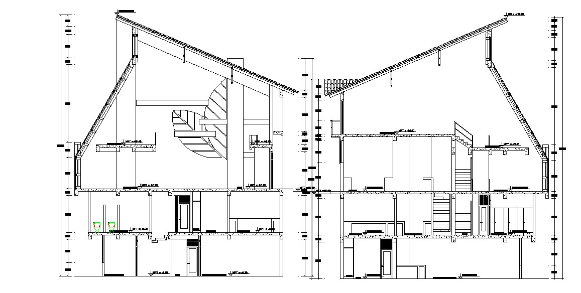 Sectional elevation of restaurant in autocad