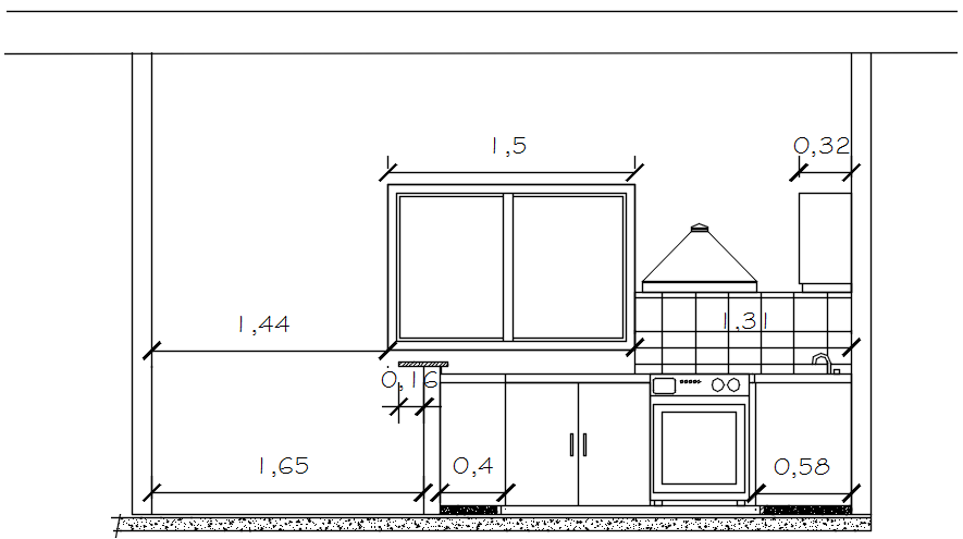Sectional elevation of the kitchen in autocad
