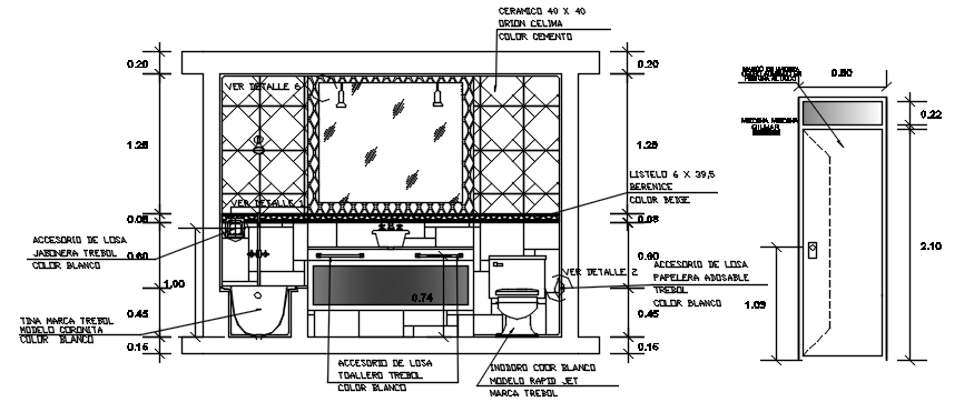 Sectional elevation of toilet in dwg file