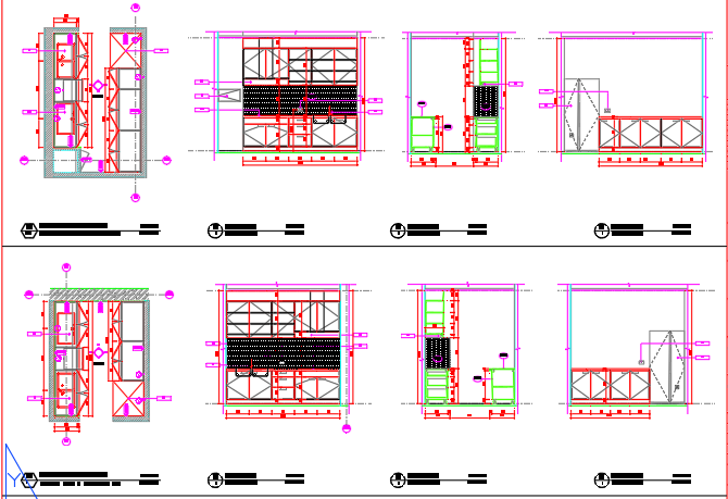 Sectional elevations of a kitchen