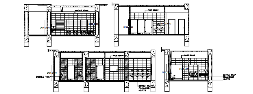 Sectional elevations of toilet in dwg file