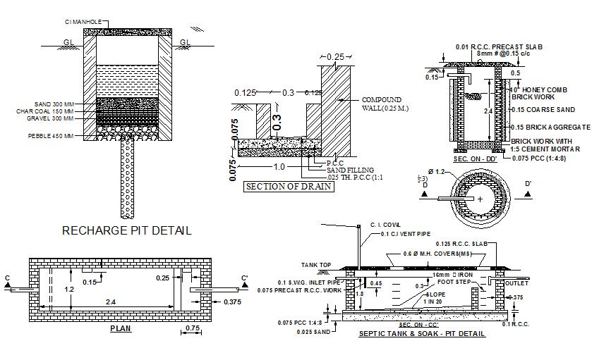Septic tank detail dwg file