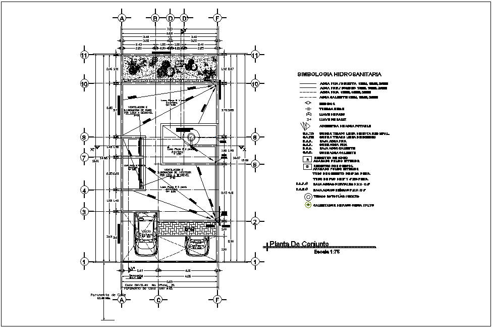 Set plan of house with hydraulic view dwg file