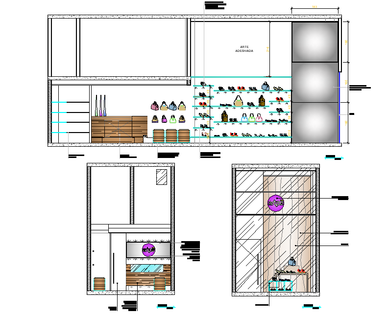 Shop elevation and section detail dwg file