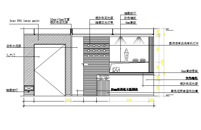 Show case unit front elevation details