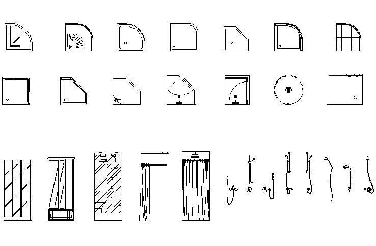 Showers equipment collection dwg file