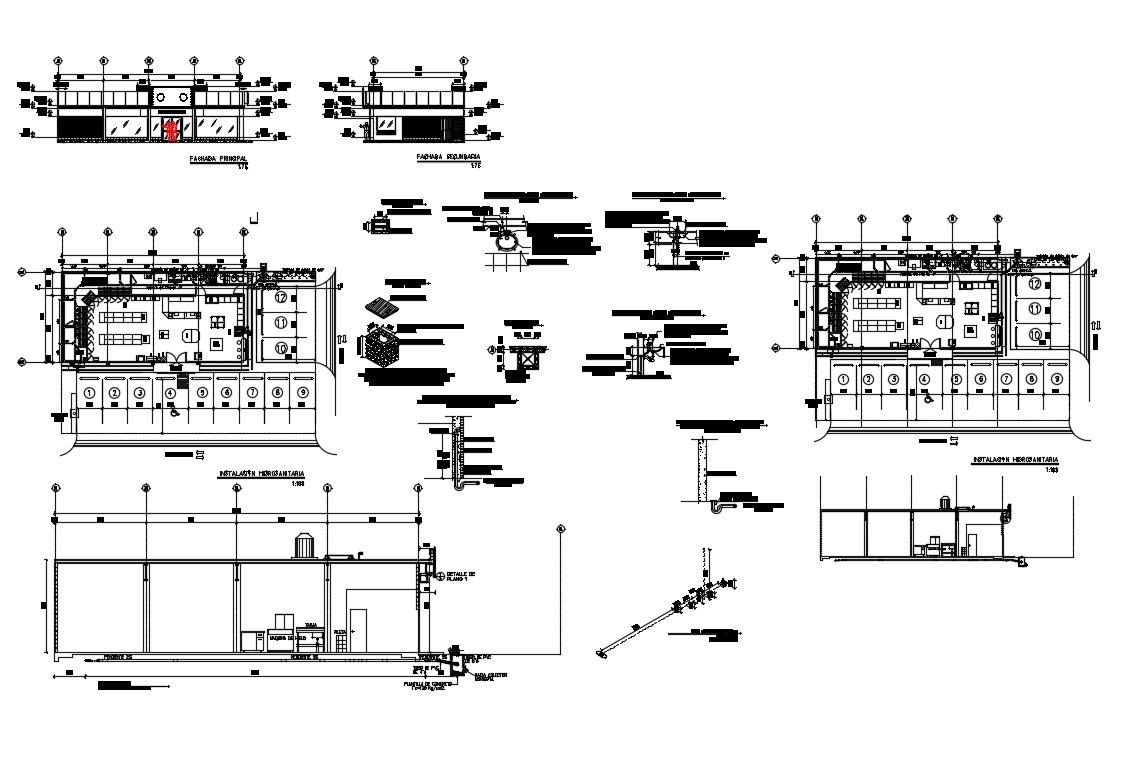 Showroom elevation, section, plan and structure details dwg file