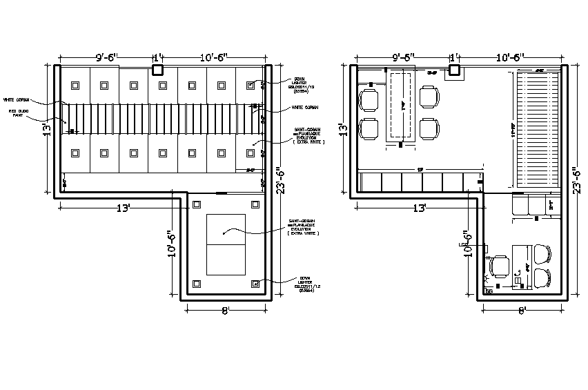 Showroom plan layout dwg file