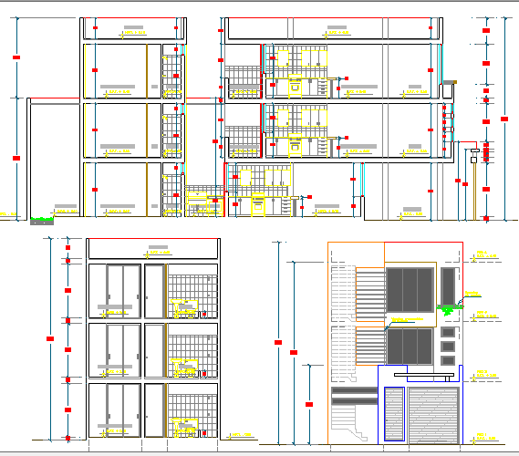 Side elevation, sectional view of multi-family housing building dwg file