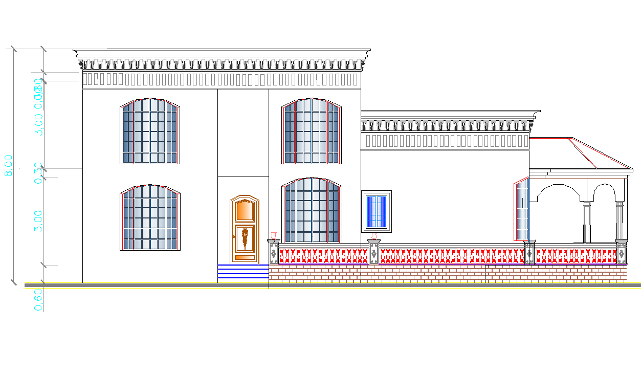Side elevation view of single family bungalow design dwg file