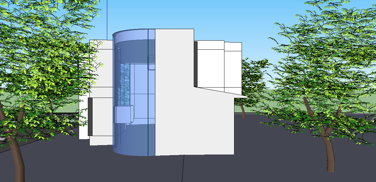 Side view of a building dwg file