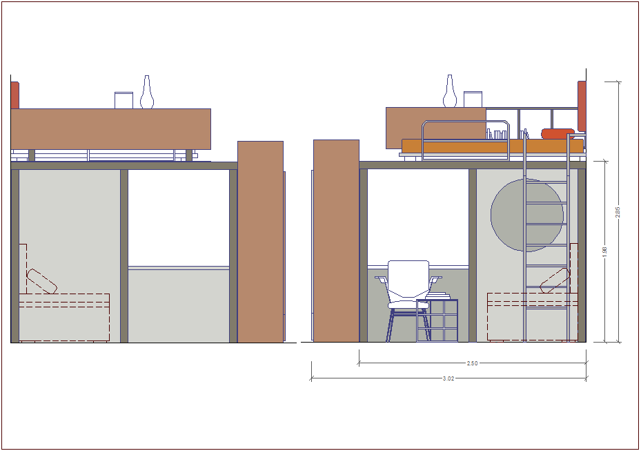 Side view of cupboard design with furniture view dwg file