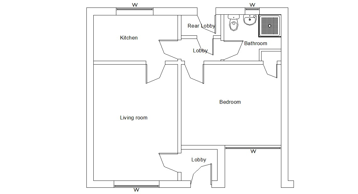 Simple Floor Plan Design AutoCAD File