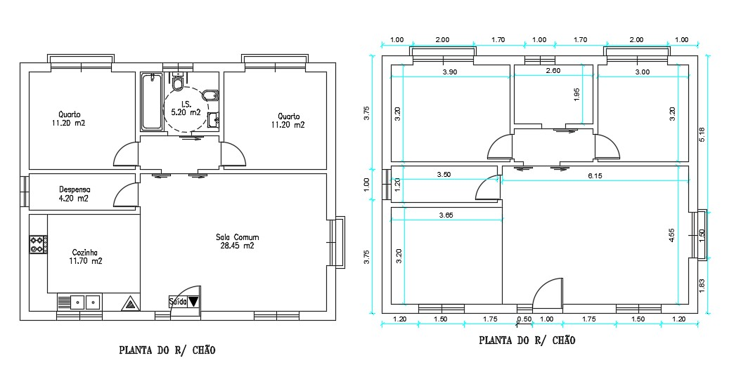 Two Bedroom House Plans With Dimension