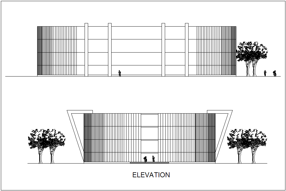 Simple elevation view of museum dwg file