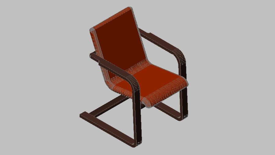 Single 3d chair elevation cad drawing details dwg file