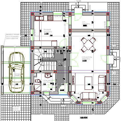Single Family Bungalow Design and Structure Details dwg file