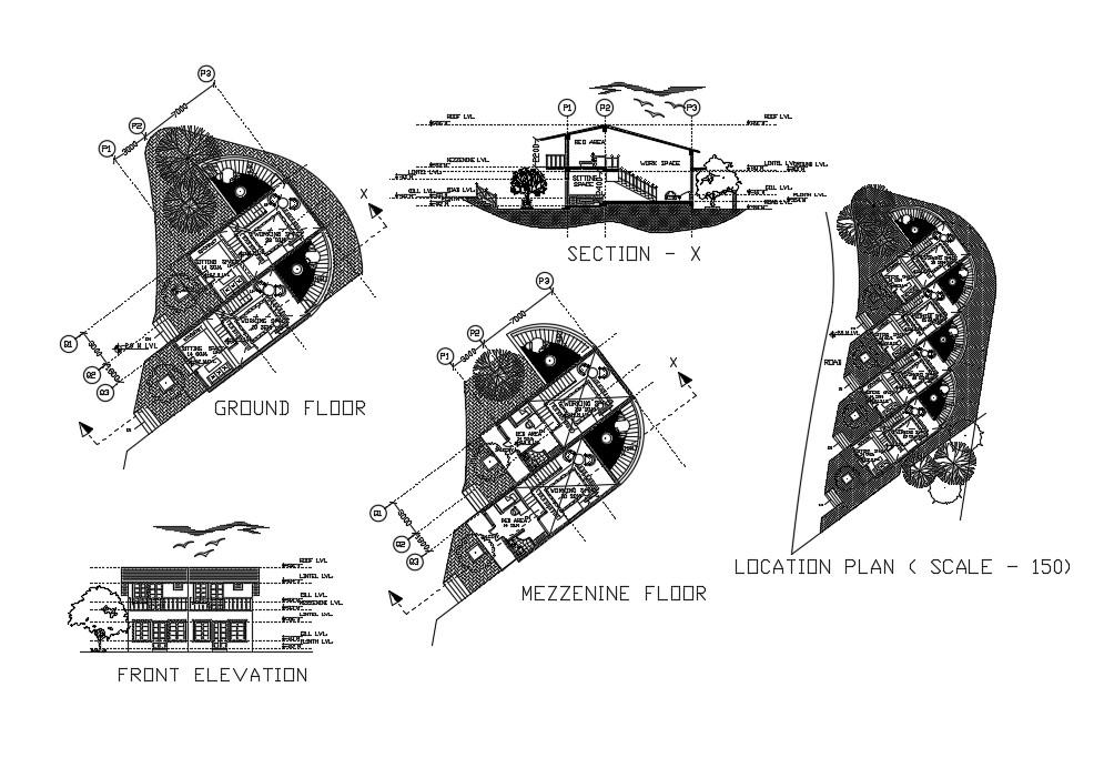 Single Residence Floor Plan In AutoCAD Drawings