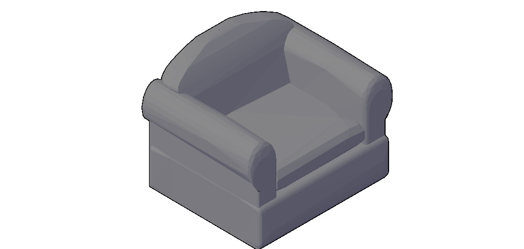 Single Sofa 3D Model Free Download In AutoCAD File