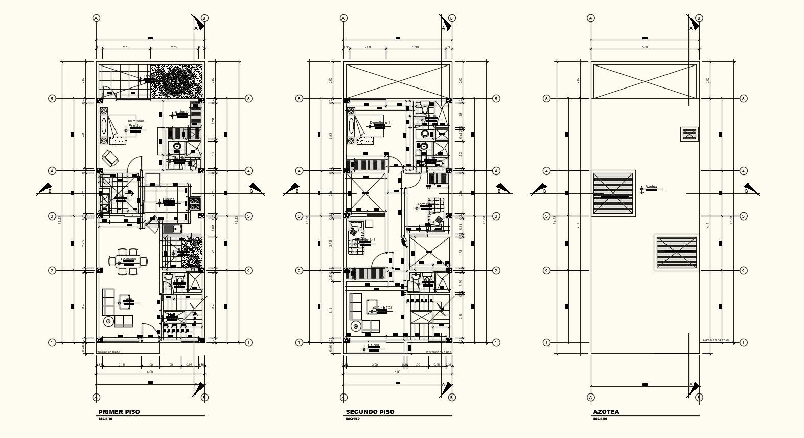 Single family home floor plan with architecture view dwg file