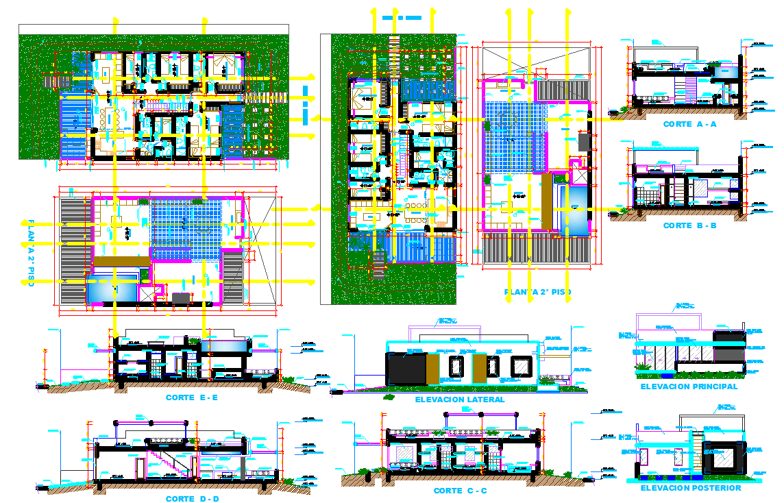 Single family house design and detail cad files