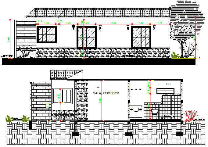 Single family house elevation and sectional details dwg file