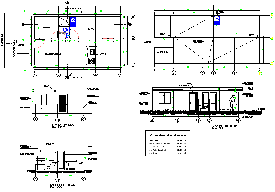 Single family house plan detail autocad file
