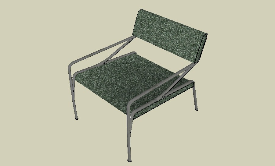 Single office chair 3d elevation cad block details skp file