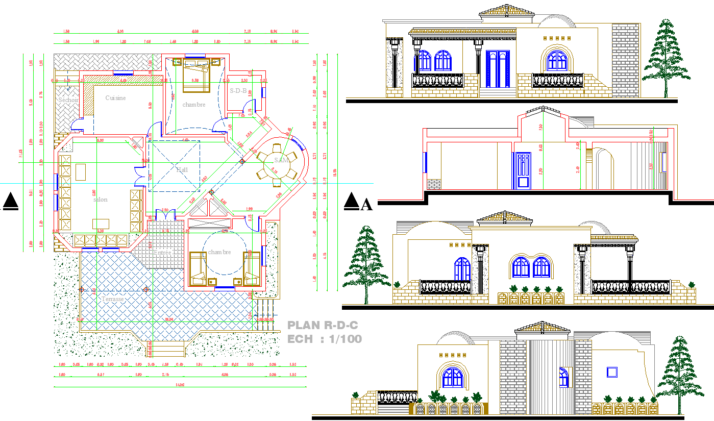 Single story House plan autocad file.