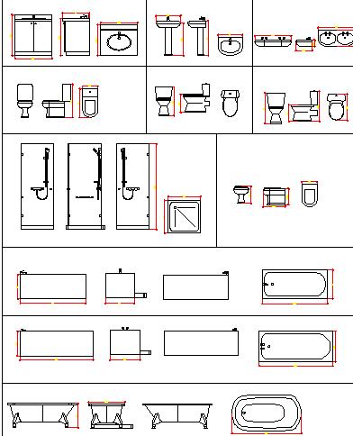 Sink, toilet sheet and bath tub blocks design details dwg file