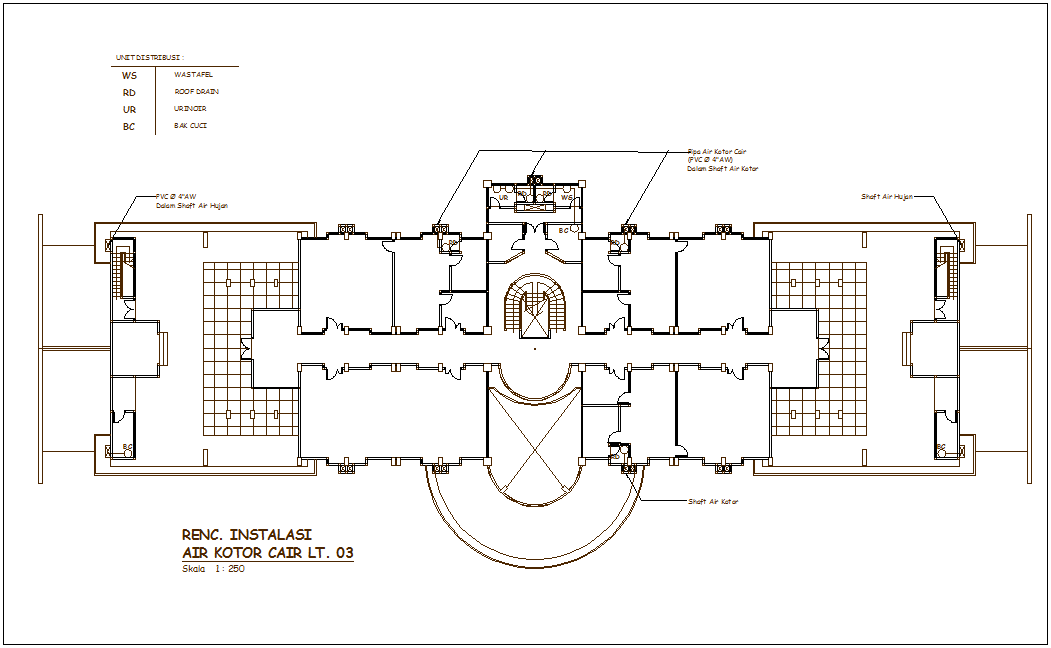 Sink with roof drain view with single-drain water line for corporate building dwg file