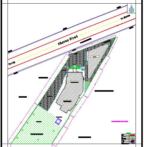 Site plan details of corporate building with landscaping dwg file