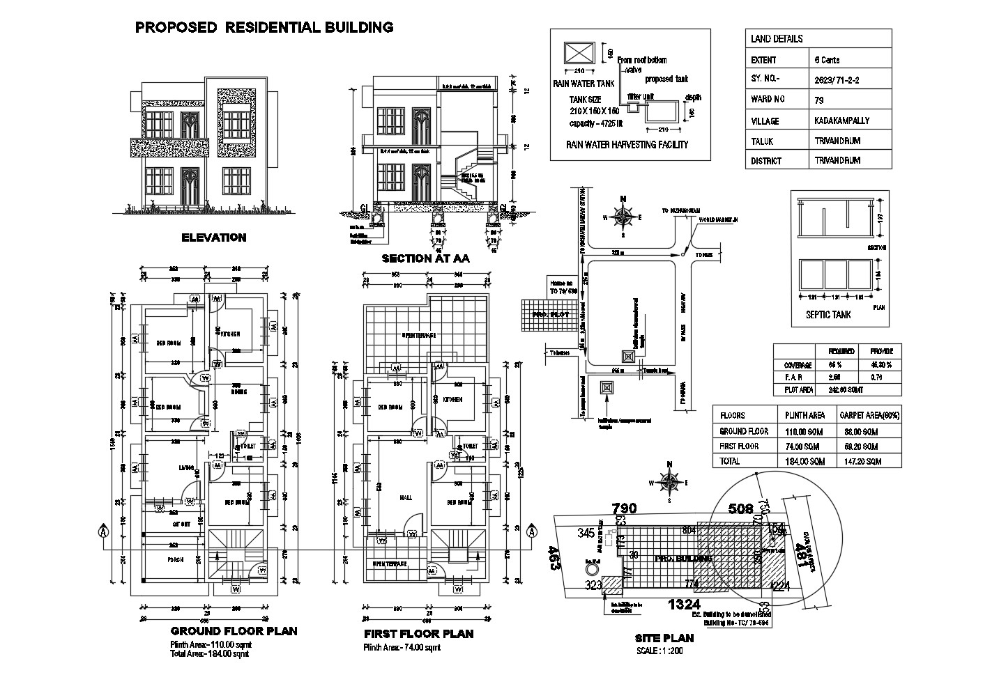 Site plan of 2 storey bungalow with elevation and section in AutoCAD