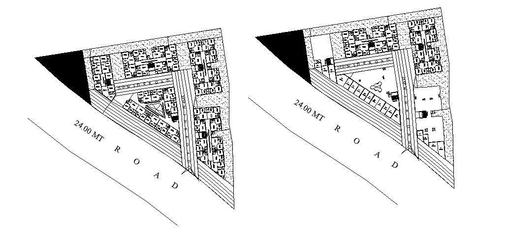 Site plan of apartment with detail dimension in dwg fille