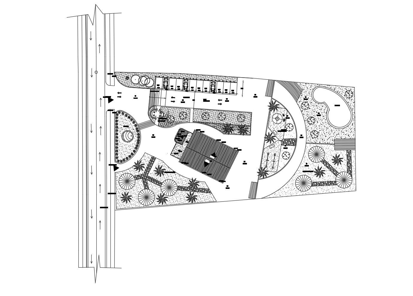 Site plan of residential building with detail dimension in dwg file