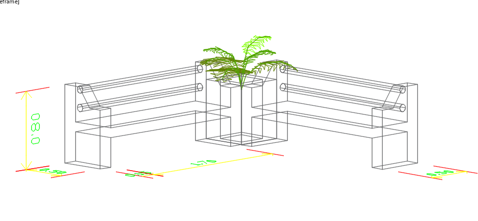 Sitting area 3d view detail dwg file