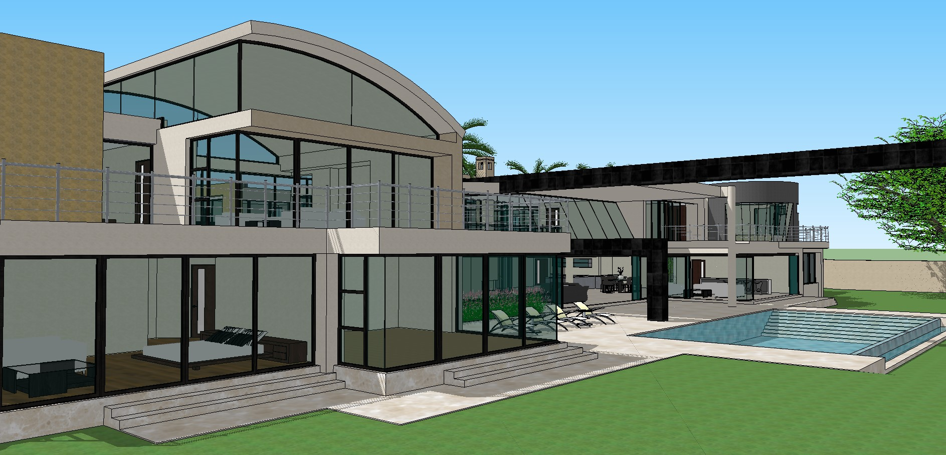 Sketchup file of house design in 3d Cadbull