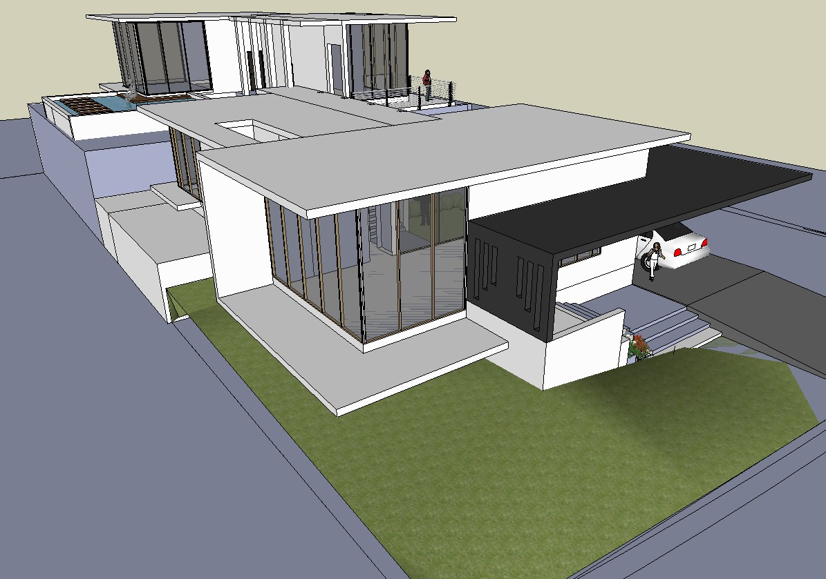 Sketchup file of the bungalow in 3d view