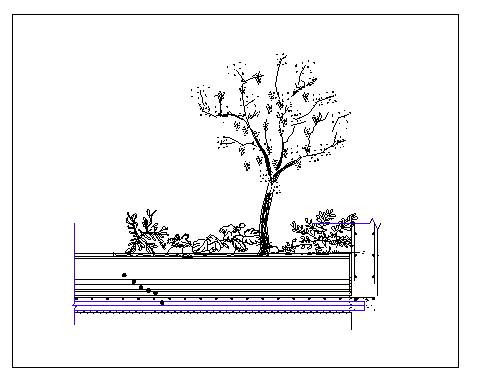 Slab with tree planter details dwg file