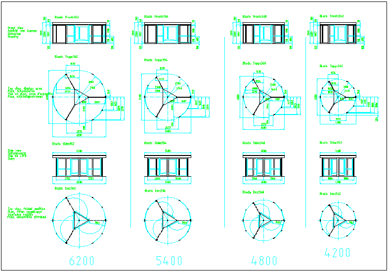 Sliding door plan and elevation view with dimension dwg file