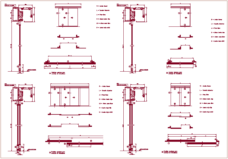 Sliding door sectional view with mechanism view dwg file