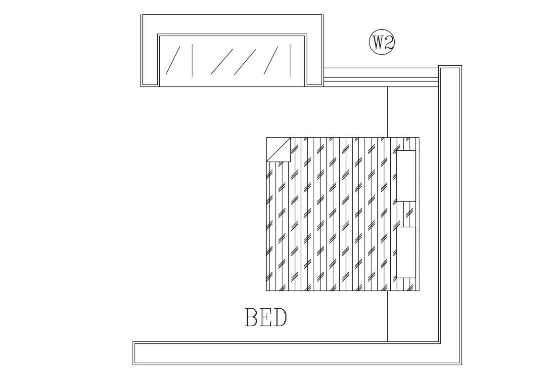Small Bedroom Layout CAD Drawing - Cadbull