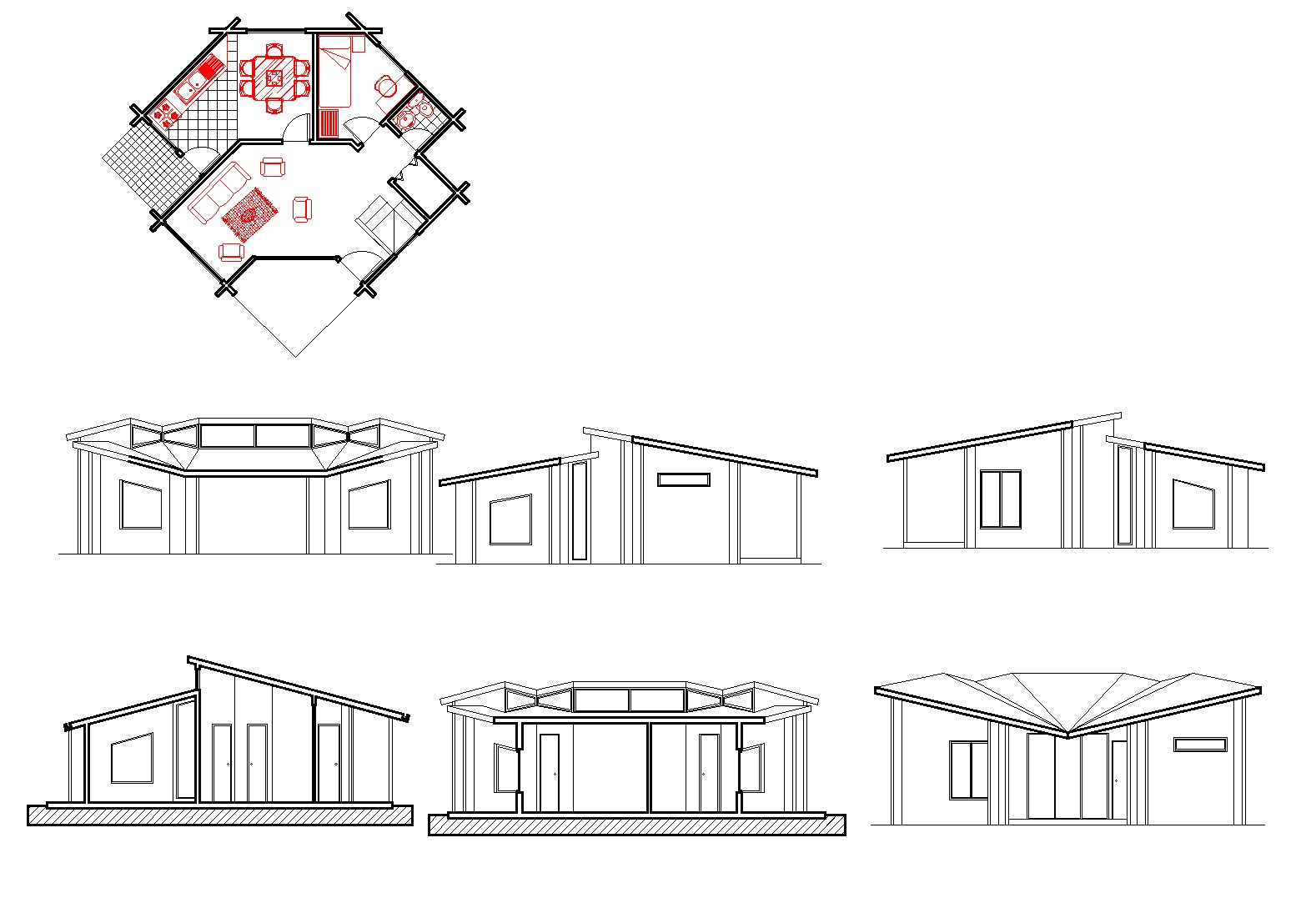 Small house plan autocad file