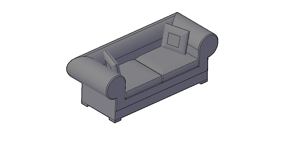 Sofa 3D Model In DWG File