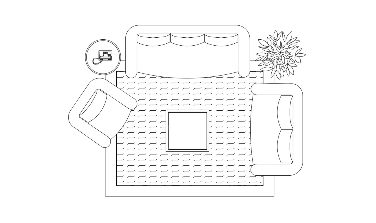 Sofa With Furniture Plan In DWG File
