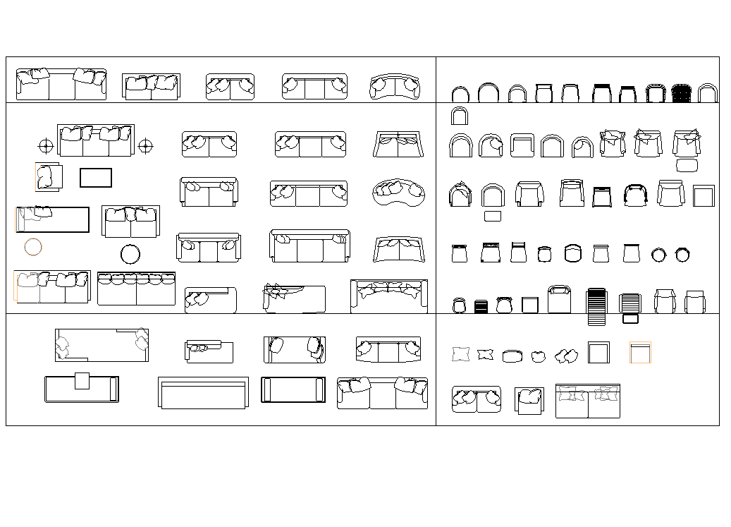 Sofa and chair plan detail dwg file.