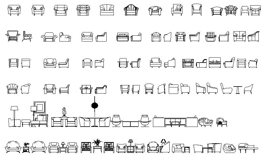 Sofa design furniture drawing
