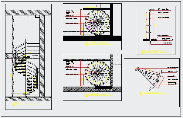 Spiral stair case design drawing