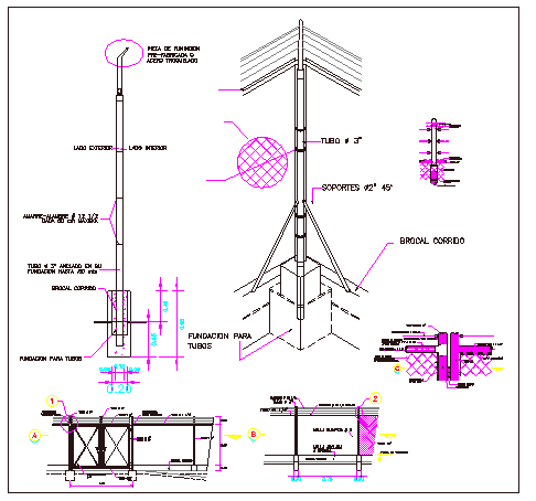 Sports ground perimeter fence and light pole installation details dwg file